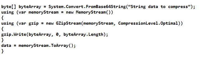 Compression using GZipStream and pako
