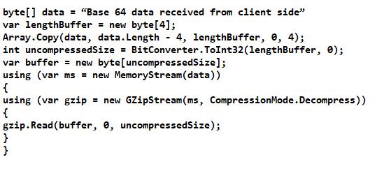 using GZipStream and pako for compression decompression